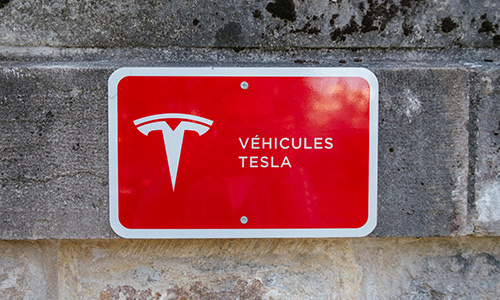 Tesla Charger Sign at the Chateau