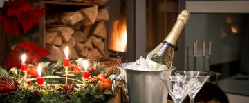 Champagne at the fire place